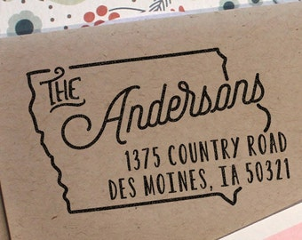 Custom Iowa Map Return Address Stamp, perfect gift for holidays, housewarming parties and weddings or as Business Card