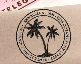 Custom Address Stamp, Palm Tree Return Address Stamp, Destination Wedding Stamp, Save The Date Stamp, Wedding Gift, Self Inking Stamp, DIY