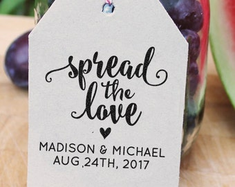 Custom wedding stamp, save the date stamp with wedding date and names, spread the love, rubber stamp