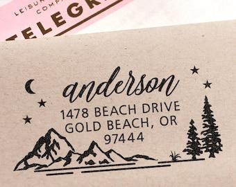 Address Stamp - Custom Address Stamp with Mountains, wedding, housewarming, christmas gift, rubber stamp, return address stamp, self inking