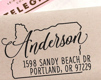 Custom Oregon Map Return Address Stamp, perfect gift for holidays, housewarming parties and weddings or as Business Card