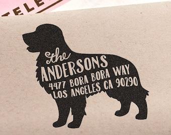 Custom Address Stamp - Golden Retriever Dog Return Address Stamp, customized gift for holidays, housewarming and weddings, school