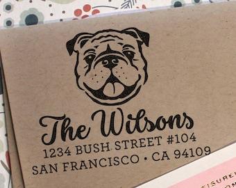 Return Address Stamp English Bulldog Stamp Christmas Or Birthday Gift Wedding Stamp Rubber Or Self Inking Stamp Custom Dog Address Stamp