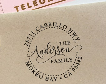 Custom Address Stamp with a fancy script font, wedding, housewarming, christmas gift, rubber stamp, return address stamp, self inking stamp