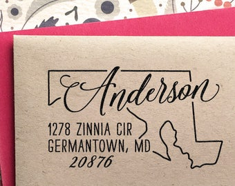 Custom Maryland Map Return Address Stamp, perfect gift for holidays, housewarming parties and weddings or as Business Card