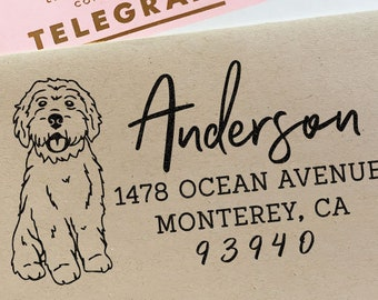 Custom Address Stamp Cockapoo Doodle Dog Return Address Holiday Gift Dog Address Stamp Wedding Gift Self Inking Rubber Stamp Housewarming
