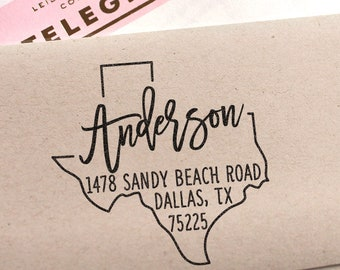 Custom Texas State Return Address Stamp, perfect gift for holidays, housewarming parties and weddings or as Business Card