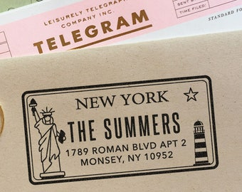 Custom New York License Plate Return Address Stamp for weddings, housewarming parties and as a customized gift for holidays