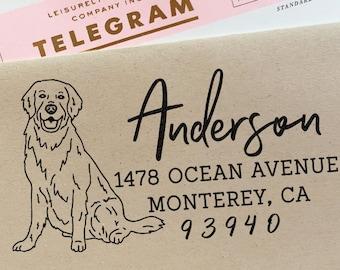 Custom Address Stamp Golden Retriever Dog Return Address Holiday Gift Dog Address Stamp Wedding Gift Self Inking Rubber Stamp Housewarming
