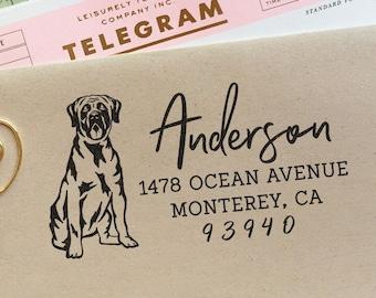 Custom Address Stamp Bullmastiff Dog Return Address Holiday Gift Dog Address Stamp Wedding Gift Self Inking Rubber Stamp Housewarming