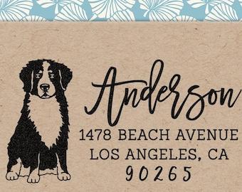 Custom Address Stamp Bernese Mountain Dog Return Address Holiday Gift Dog Address Stamp Wedding Gift Self Inking Rubber Stamp Housewarming