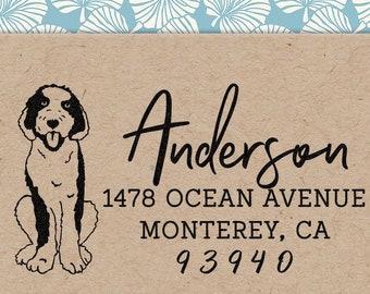 Custom Address Stamp Sheepadoodle Dog Return Address Holiday Gift Dog Address Stamp Wedding Gift Self Inking Rubber Stamp Housewarming Gift