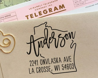 Custom Wisconsin State Return Address Stamp Perfect Gift For Holidays Housewarming Parties And Weddings Or As Business Card