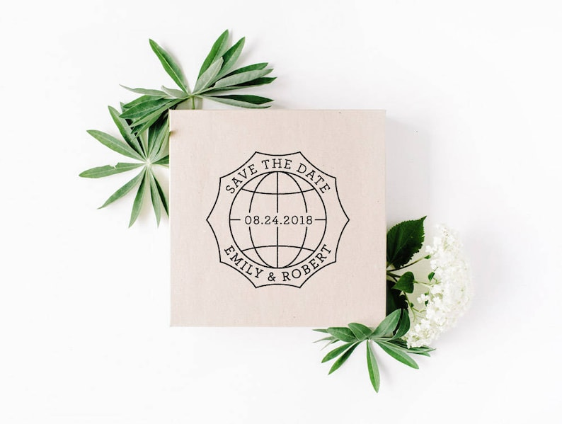 Custom Wedding Stamp Circular Monogram Save The Date