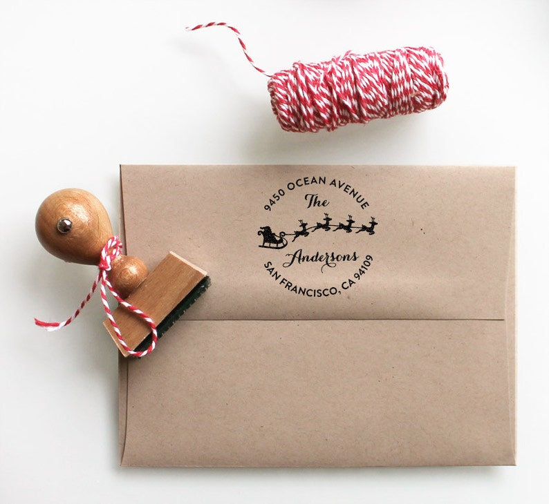 Christmas Address Stamp Holiday Christmas Gift Stocking Stuffer Return Address Stamp Self Inking Or Rubber Stamp Santa Claus Reindeer Stamp