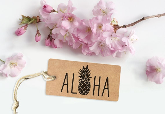 Cute Aloha rubber stamp, label your gift tags, packaging, scrapbooking or other goodies, gift for all occasions, hawaii stamp