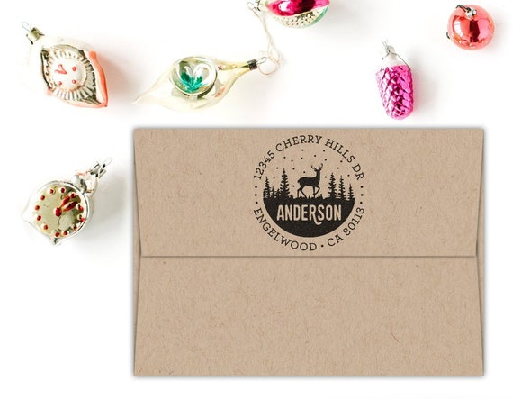 Christmas Address Stamp Custom Christmas Gift Holiday Stocking Stuffer Return Address Stamp Self Inking Or Rubber Stamp Wood Handle Deer