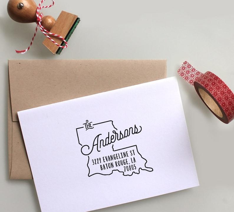 Housewarming Gift Rubber Address Stamp Self Inking Stamp Wedding Stamp Custom Louisiana State Return Address Stamp Save The Date Stamp
