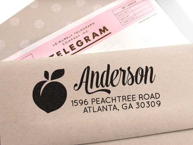 Custom address stamp with a peach, wedding gift, return address stamp, Georgia Florida stamp, personalized gift, gift for her, gift idea