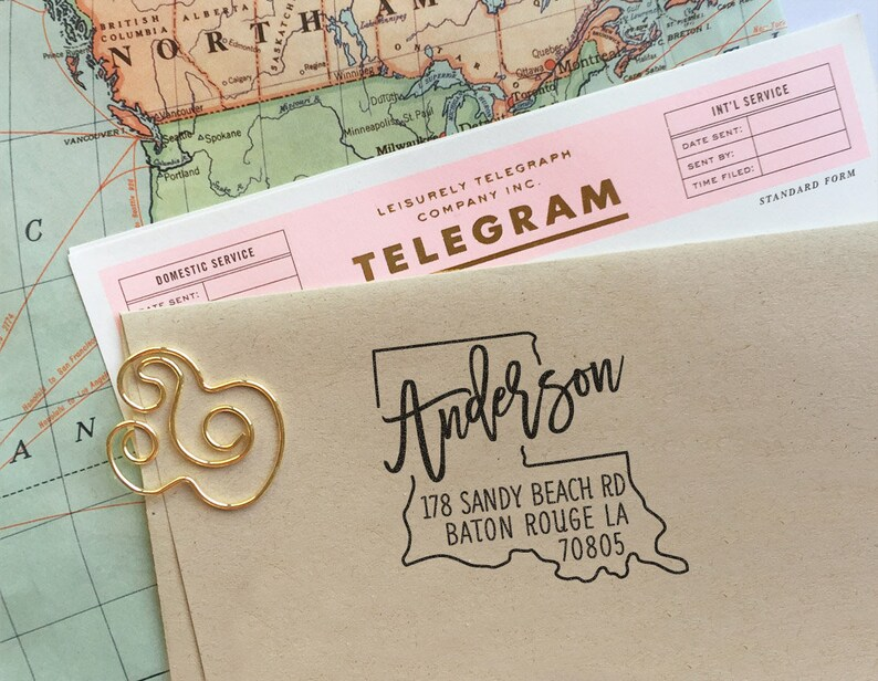 Custom Louisiana State Return Address Stamp Rubber Address Stamp Housewarming Gift Wedding Stamp Self Inking Stamp Save The Date Stamp