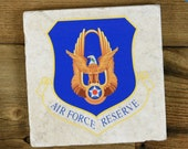 Air Force Reserve - Tumbled Heavy Stone Coaster - Protects Against Condensation - Veteran, Military Gift