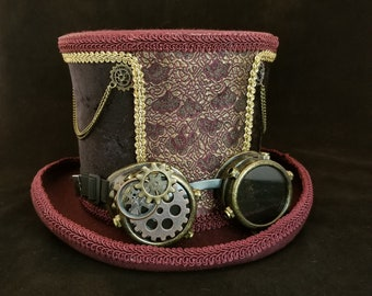 Tall burgundy top hat for steampunk costume and weddings