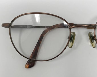 Vintage 80s Retro Round Metallic Bronze Eyeglasses by Guess Preppy Eye Glasses