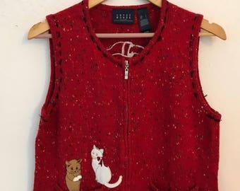 Womens Ugly Christmas Sweater Vest Cat Chrismas Sweater Vest Size Large L