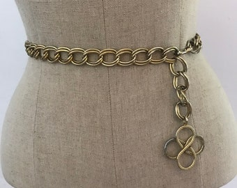Vintage Gold 4 Leaf Clover Medallion Metal Chain Link Belt / Size Small Medium Large S M L Gold Tone Metal