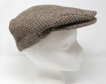 a6d79ea0883d2 Vintage 50s Scottish Harris Tweed Wool Flat Cap   Unisex Newsboy Cap Brown  Tweed