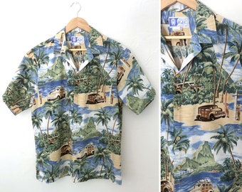 bbba0476 Vintage 80s Hawaiian Surfboard Woody Wagon Shirt RJC / Size Large XL Short  Sleeve Cotton Button Front Retro Car