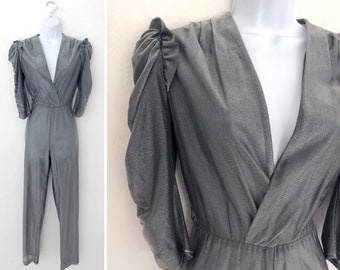 7b3532b27f6 Vintage 70s Metallic Silver Jumpsuit   Womens Size Small One Piece Disco New  Wave Pantsuit Bodycon