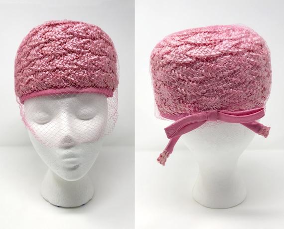 vintage 1950s pink pillbox veil hat   winkelmans  
