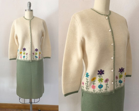 1940s 50s embroidered sweater skirt set | xs-small