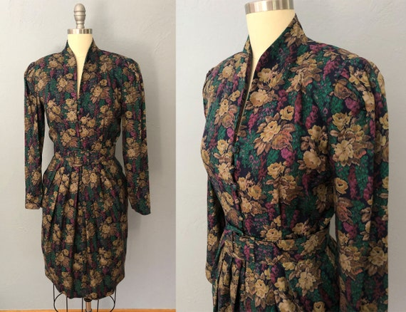 vintage 90s tapestry dress   size small   dark flo