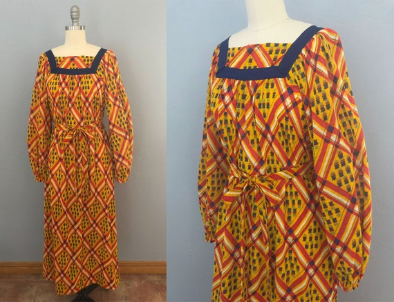 vintage 60s geometric plaid maxi dress | size larg