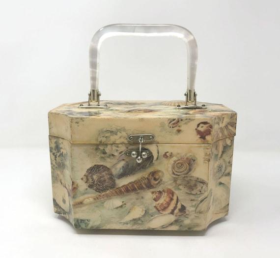 Vintage Wood Box Purse Handbag Novelty Shell Coast