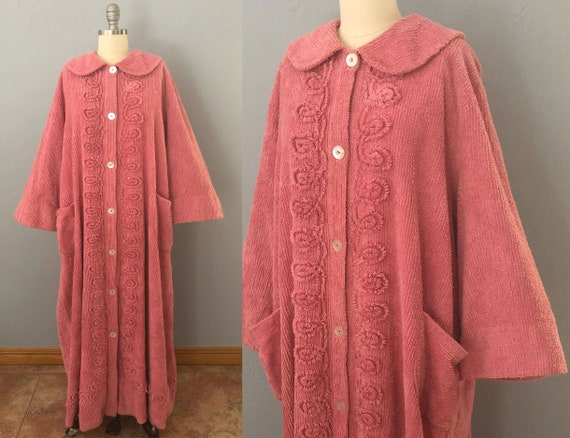 vintage 1940s chenille robe dressing gown | Large