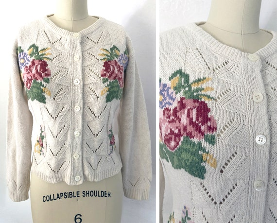 Vintage 70s Does 30s Embroidred Floral Victorian C