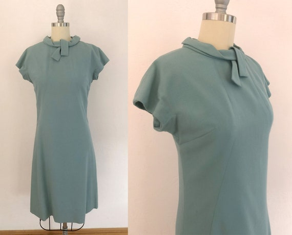 vintage 1950s wool wiggle dress | size small | 50s