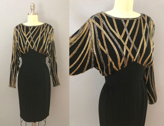 vintage 80s beaded spider web party formal dress |