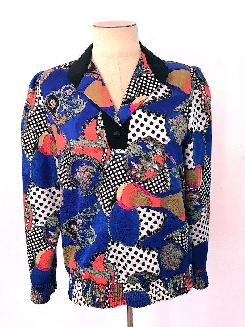 Red Collared Blouse Deadstock Vintage 70s Shirt With Novelty Print El Pueblito Blouse