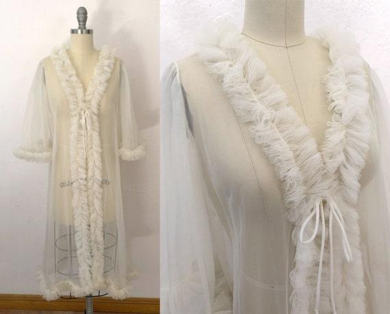 rare vintage 40s sheer ruffle peignoir robe | medi