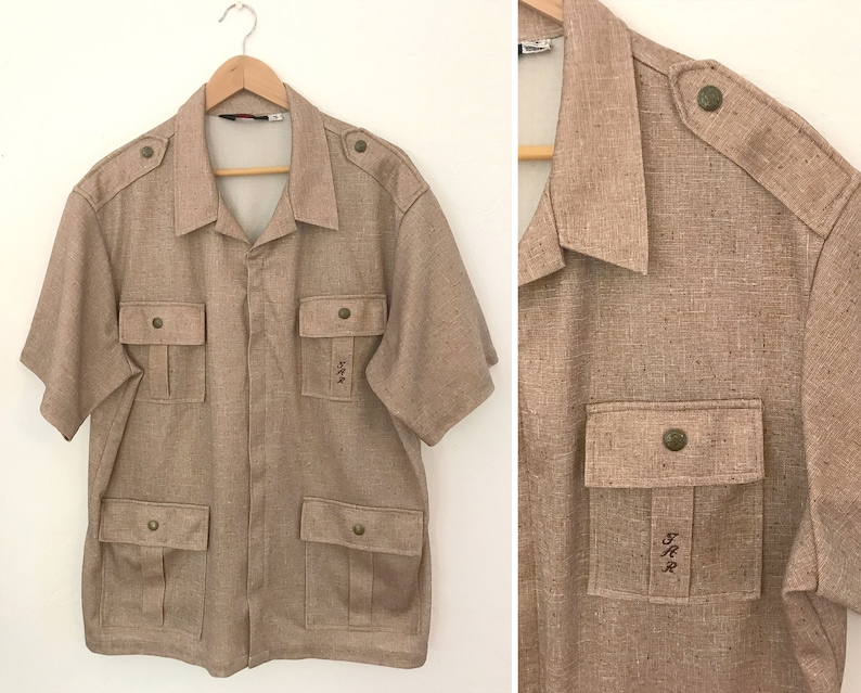 048e270572c Vintage 80s Mens Zip Front Camp Shirt Men's Size Extra | Etsy