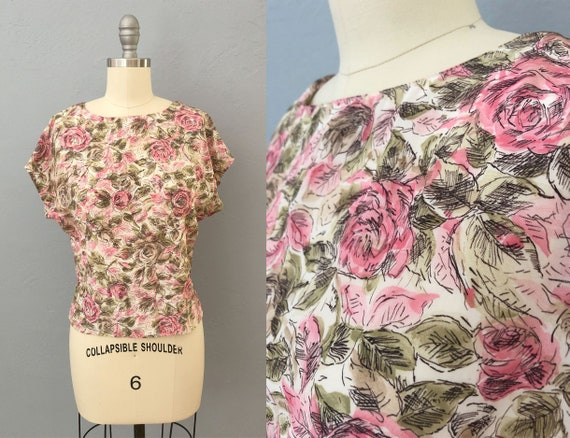 vintage 70s floral cropped blouse | medium  | 70s