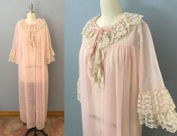 vintage 50s sheer lace ruffle peignoir robe | size