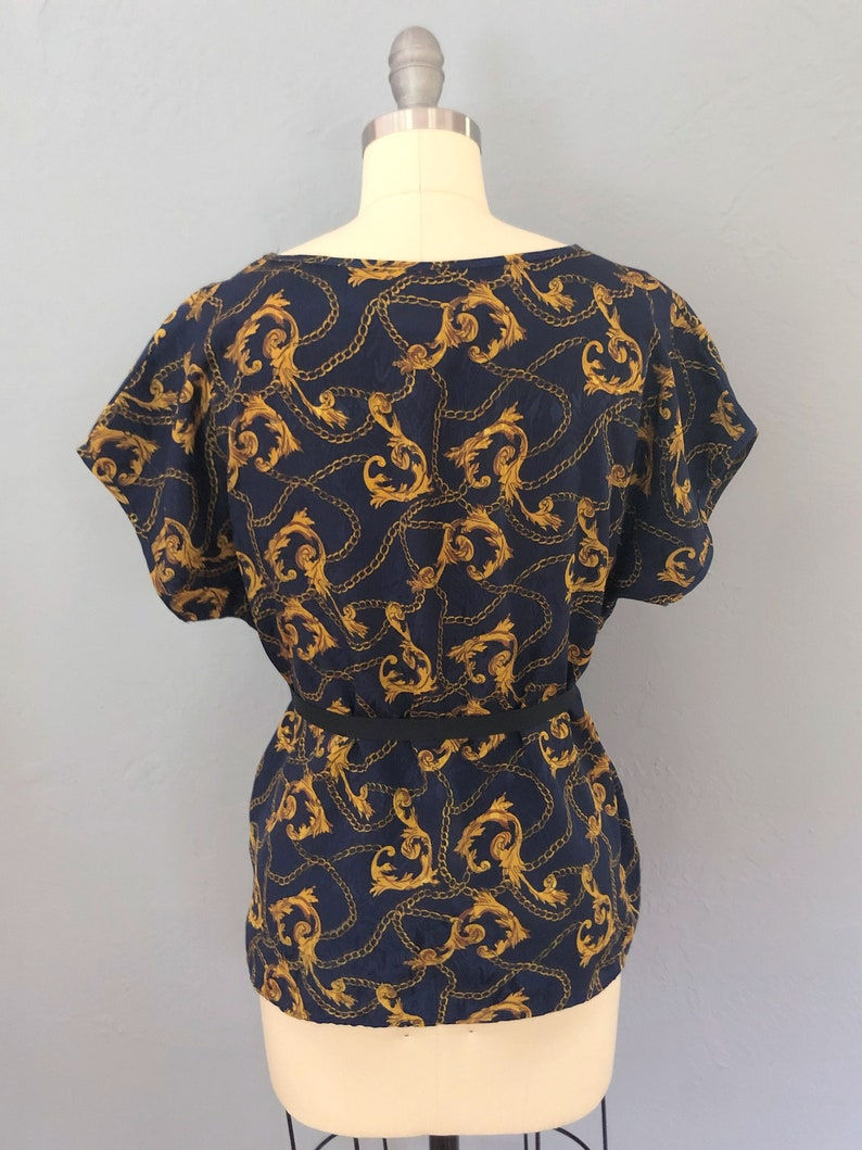 pull on large vintage 1970s gold blue paisley designer blouse holiday Valentines gift