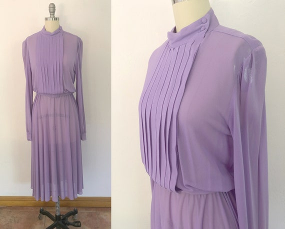 vintage 1970s sheer victorian day dress | size med