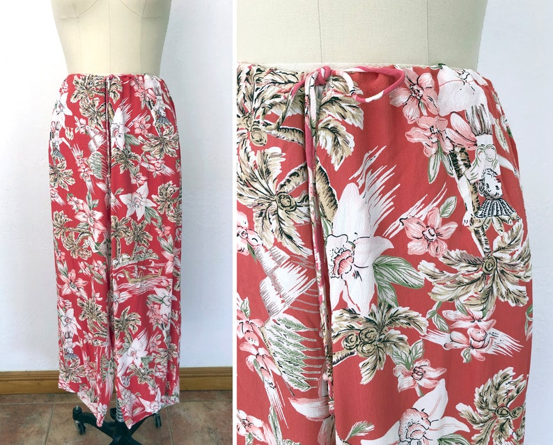 1f05b5f78f02 Vintage Hawaiian Print Drawstring Pants / Womens Small Medium | Etsy