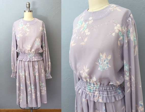 vintage 70's floral top and skirt set | XS small |